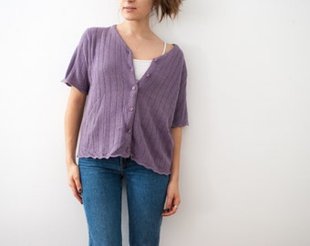 80s Vintage Sweater, Purple, Button-up, Sag Harbor
