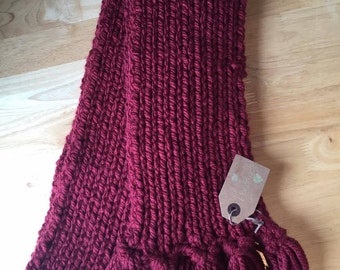 Super Chunky Ribbed College Scarf - Red