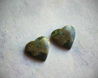 Rainforest Jasper Heart Cabochons - Green Rhyolite Heart Cab Pair - Destash