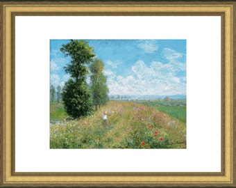 """framed print of Monet's """"meadow with poplars"""" framed by museum of art  Boston"""
