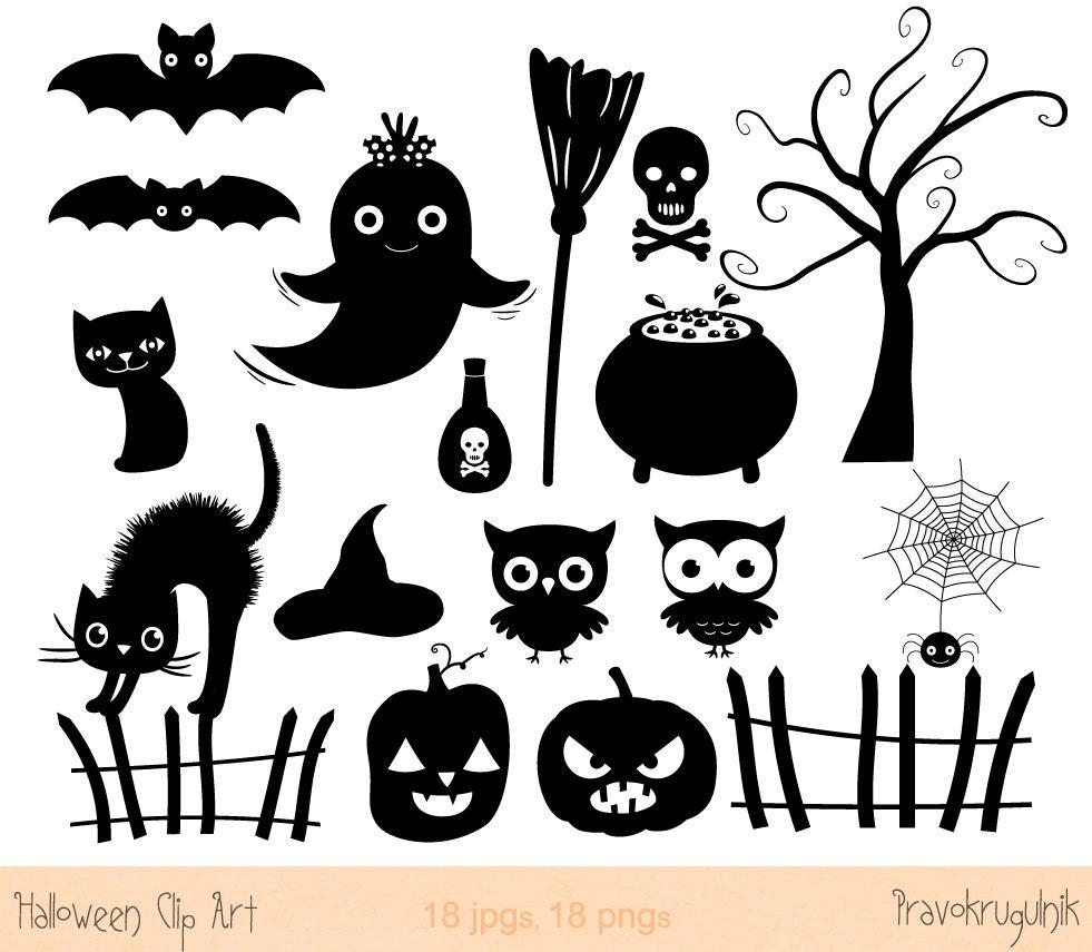 Halloween silhouette clip art, Halloween silhouette clipart set ...