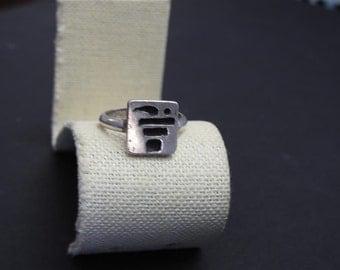 stunning vintage handmade sterling silver modernist ring size 9