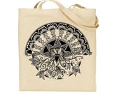 Beautiful Hand Drawn Lotus Heart Design Screen Printed in Black onto Eye Catching Long Handle Tote Bag
