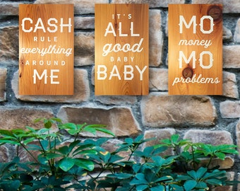 "Gangster Hip Hop Rap Lyrics/Quotes Painted Wooden Sign Set -  12 x 7"" Set of 3 or Sold Separately, gangster hip hop gifts, hand painted sign"