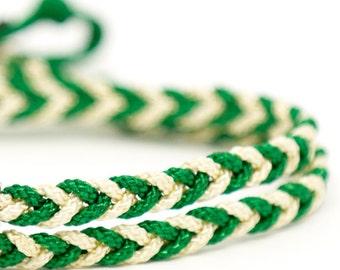 Bracelet braided rope timeless Green & white
