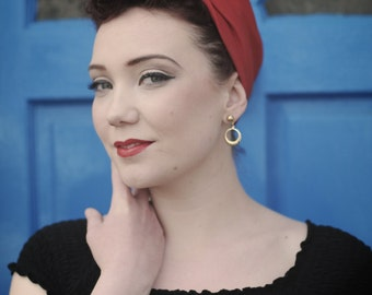 Vintage Style Turban/Headband Style (made to order) in black, purple, green stripe or red