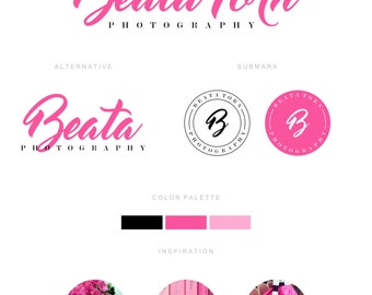 Branding Kit, Branding Package, Premade Logo, Pink Logo, Calligpaphy Logo, Photography Logo, Wedding Logo, Business Card Design