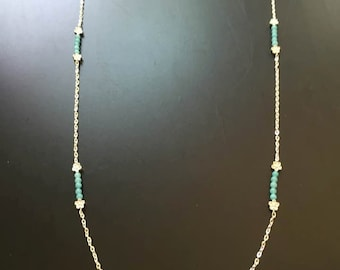 Natural Aquamarine Chain Necklace March Birthstone