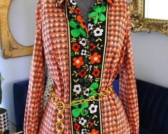 Vintage 60s 70s Colorful Floral Dress Saks Fifth Avenue Wilroy Traveller