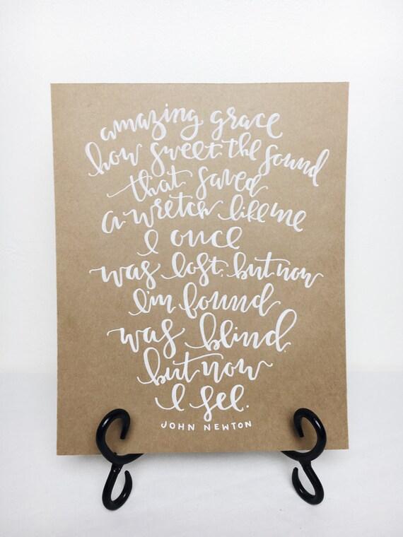Items similar to amazing grace calligraphy print handmade