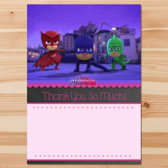 PJ Masks Birthday Thank You Card - Pink Chalkboard Instant Download - Girl PJ Masks Thank - PJ Mask Birthday Girl Party - Pj Masks Printable
