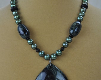 """Necklace - 17"""" Kambaba Jasper Pendant Necklace with Green Freshwater Pearls"""