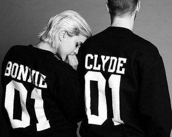 Bonnie Clyde 01  matching Sweaters, Bonnie and Clyde pullover, Custom Sweaters with Custom Numbers