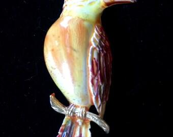 Vintage Brooch Goldtone hand-painted Yellow and Orange Hummingbird
