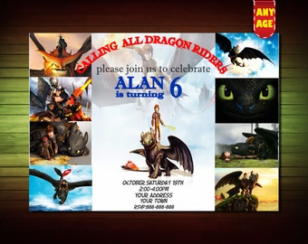 How to Train your Dragon Invitation,How To Train Your Dragon Birthday Invitation,How To Train Your Dragon Invite, Dragons 2 invitation