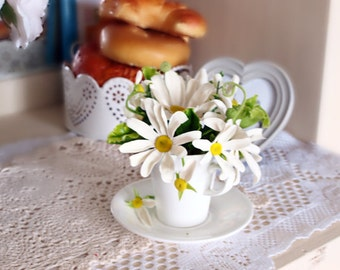 Home decor, chamomile, cold porcelain flowers from clay, polymer clay, flower arrangement, flowers in a cup, decoration , kitchen d