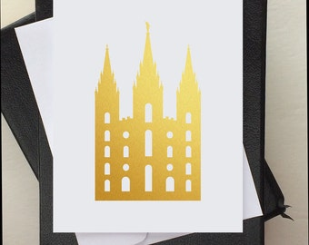 Custom LDS Cards - LDS Temple - LDS Stationery - Lds Baptism Invitation - Gold Temple - Custom Note Cards and Envelopes - Gold Vinyl