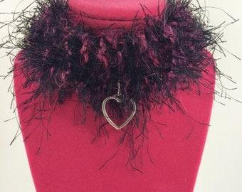 Knit goth, punk, choker necklace