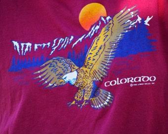 1983 Colorado Eagle Tee Maroon Sunset Graphic T Shirt Eighties Vintage Retro Worn