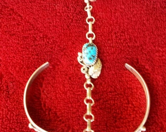 Turquoise Slave Bracelet Sterling Silver size 6