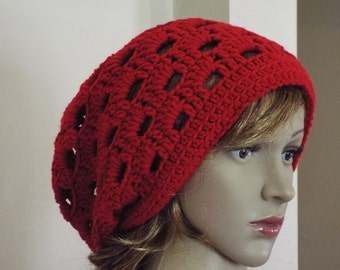 red slouchy hat, crochet slouchy hat, slouchy hat, large slouchy hat