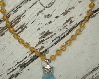 Blue and yellow owl necklace