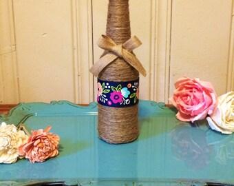 Decorative twine bottle, twine bottle, home decor, wedding decor