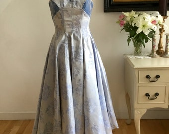 Vintage 1950s Dress Ball Gown French Couture Blue Silk Brocade Velvet Huge Circle Skirt Stunning