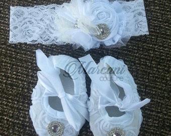 Beautiful White Baby Set 3-6 months Ready To Ship Crib Shoes Headband