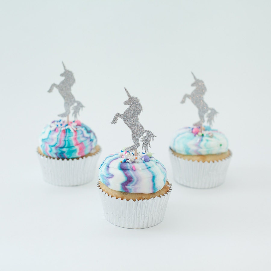 unicorn cupcake toppers picks unicorn cupcake kit silver