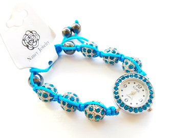 Womens Turquoise Rhinestone Watch Bracelet, Shambala, Beaded Wrist Watch, Shamballa Beaded Watch, Bracelet Watch, ladies watch Free Shipping
