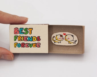 "Friendship Card/ Friend Valentine Matchbox/ Gift box/ ""Best Friends Forever""/ OT027"