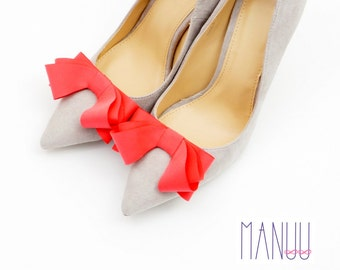 Elegant coral bows - shoe clips Manuu, Wedding shoe clips, Bridal shoe clips
