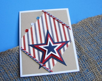 Stars and Stripes Angled Greeting Card, Handmade