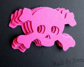 Skull & Crossbone Die Cuts, Hot Pink, Gift Tags, Party Embellishments