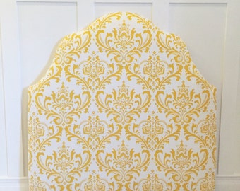 Twin Size Upholstered Headboard in Golden Yellow/White
