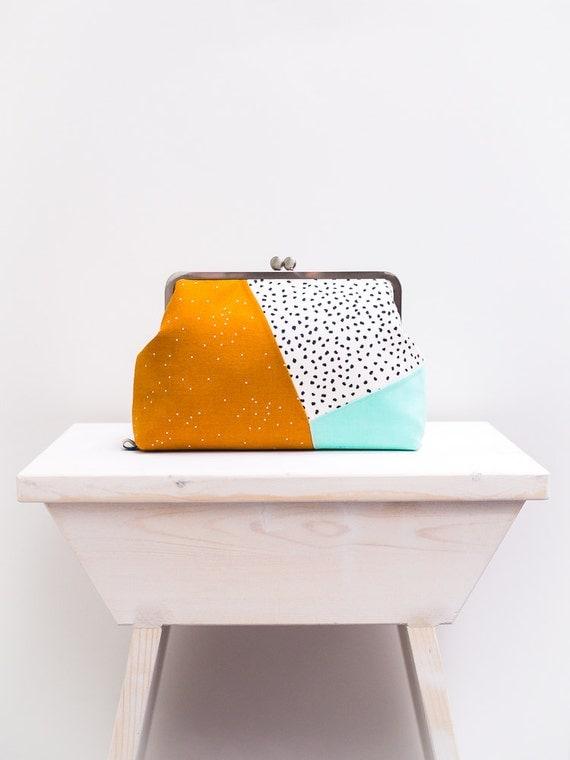Minimalist Colorblock Clutch Purse, Kiss lock Purse, Geometric Clutch Bag, Metal Frame Purse, Multicolor Clutch Purse, Mustard, Mint Green