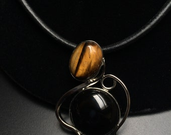 Tiger Eye and Black Onyx Pendent