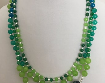 Green Bead Necklace, 3 Strand Necklace, Statement Necklace
