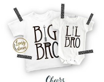 Big Brother Little Brother, Trendy Family Set, Aztec Shirt, Big Bro Shirt Lil Bro Onesie®, Boys Shirt, White with Black, New Brother, Arrow