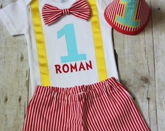 Carnival Circus 1st birthday outfit Carnival firsts birthday outift smash cake outfit boys 1st birthday outfit circus boys onesie *3PC SET*
