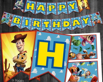 Toy Story Happy Birthday Banner, Toy Story Party Banner, Toy Story Party, Woody and Buzz Lightyear Favors, Toy Story Banner Flags, Printable