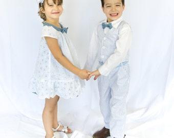 Toddlers and Boys Nautical Marine Vest 4-Piece Suit, Shirt Pants Bowtie