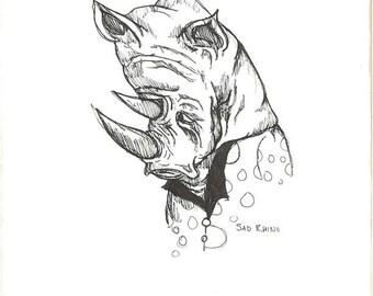 Sad Rhino Print