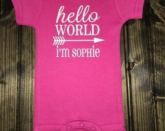 Hello World Onesie Girl