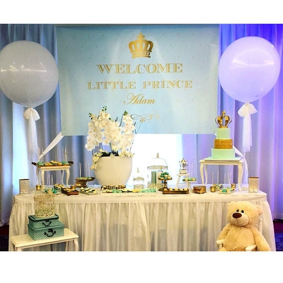 printable royal prince themed baby blue and gold crown backdrop