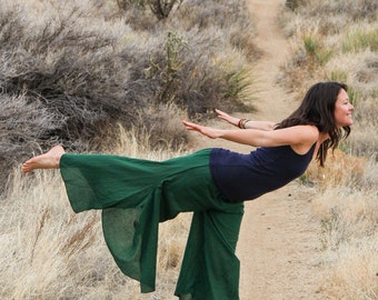 Cotton Boho Flowy Pants in EMERALD // Partially Lined, Moisture Wicking, Yoga, Biking, Play! Flexible Waistband.