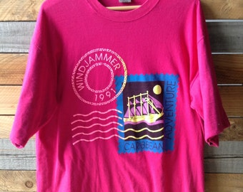 90s Windjammer Caribbean Adventure 1991 vintage t-shirt XL pink double-layer