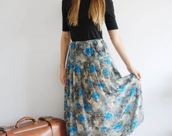 Vintage 70s Sheer Floral Skirt - UK 10-14
