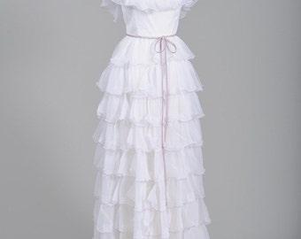 1970 Peasant Vintage Wedding Gown